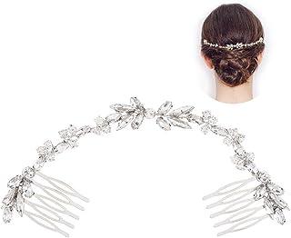 INTVN cristallo nuziale fascia vite argento capelli, accessori capelli sposa copricapo per sposa e damigelle