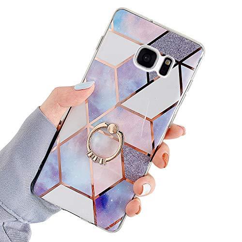 Hpory - Funda de mármol Compatible con Samsung S7 Edge Glitter Case [Soporte para Anillos]