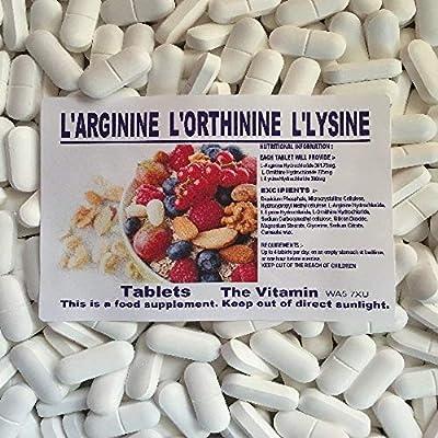"The Vitamin L-Arginine, L-Ornithine, L-Lysine 120 Tablets ""Lean muscle mass"" 1-4 per day L from The Vitamin"