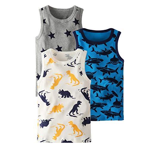TURMIN Chaleco para Niños Niñas Camisetas sin Mangas, Paquete de 3 Camisetas de Tirantes Suaves, Pequeños Bebés Dinosaurio Chalecos de Verano de 3-9 Años-Tiburón
