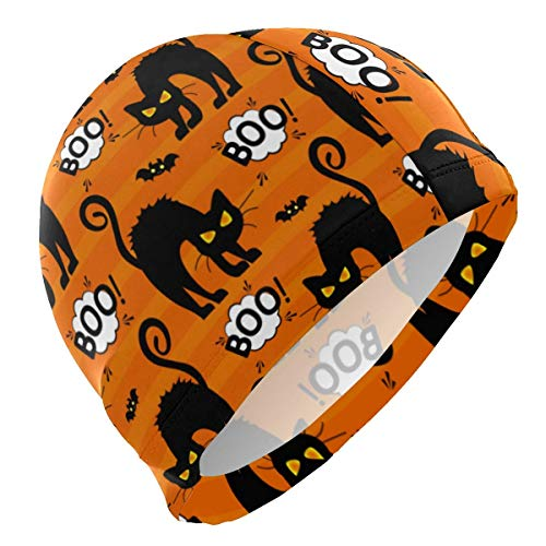 Uosliks Badekappe Halloween Boo Katze Badekappe Bequem Badekappe Hält Haar sauber Atmungsaktiv