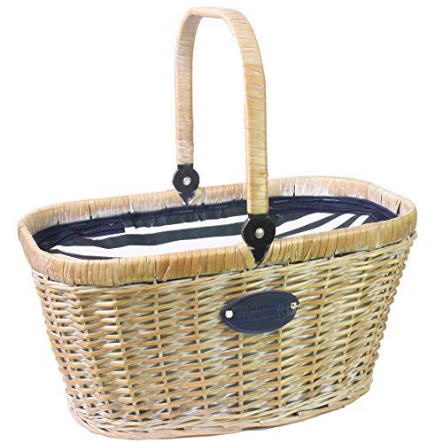 Les Jardins de la Comtesse - Cesta Chantilly Marine de Mimbre Blanqueada - Nevera Isotérmica - para el Mercado, el Picnic o la Playa - Asa Plegable - Tela Azul/Rayas Blancas - 48 cm x 29 cm x 27 cm