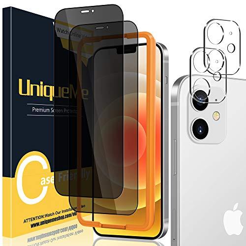 UniqueMe [2 Piezas Protector de Pantalla de Privacidad + [2 Piezas] Protector de Lente de cámara para iPhone 12 Mini 5,4 Pulgadas [Anti Voyeur] Vidrio Templado [9H Dureza] HD Film Cristal Templado