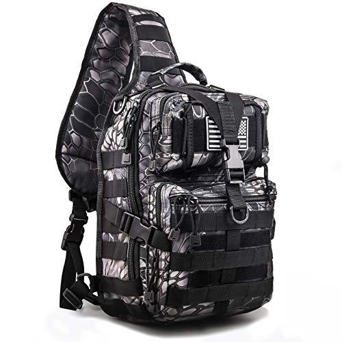 hopopower Tactical Sling Bag Pack Military Assault Rucksack Shoulder Bag Backpack Chest Pack Handbag Waterproof for Travel School Hiking Camping Trekking Exploring Fishing Hunting