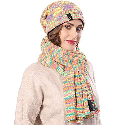 FORBUSITE Süß Damen Mütze und Schal Set, Mehrfarbig Beanie und Strickschal Set (B30904)