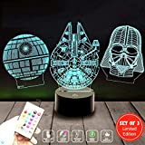 Star Wars Lamp Set of 3 - Death Star 3D Light Awesome Gift for Star Wars Fans 75159 (MT471) Starwars Gifts