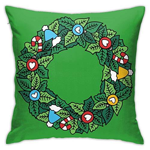 SSHELEY Funda de cojín Decorativa de Hoja Verde de Navidad Funda de cojín Decorativa Funda de Almohada Decorativa...