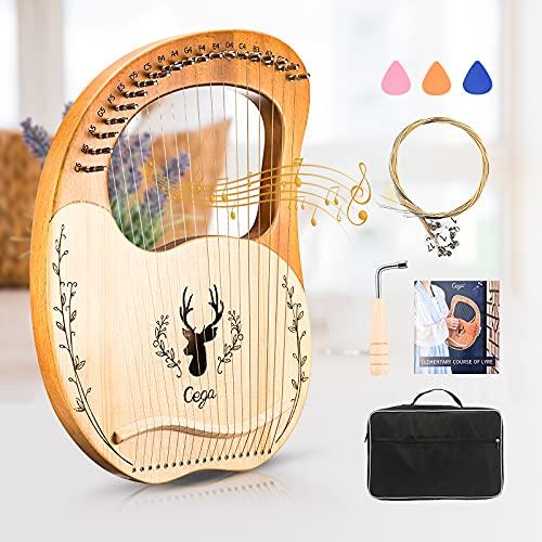 S SMAUTOP 19 Saiten Lyra Harfe, Massivholz Mahagoni Harfe mit Tragetasche und geschnitzten phonetischen Symbolen, für Musikliebhaber Anfänger