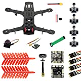 QWinOut Q250 Full Set DIY FPV Drone Camera Quadcopter 250MM Carbon Fiber Frame F3 FC Flycolor Raptor BLS Pro-30A ESC 700TVL Camera FS I6 (with Camera)