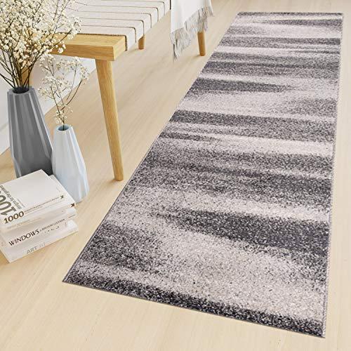Tapiso Sari Teppich Läufer Meterware Wohnzimmer Schlafzimmer Küche Flur Brücke nach Maß Grau Vintage Kurzflor Verwischt ÖKOTEX 60 x 300 cm