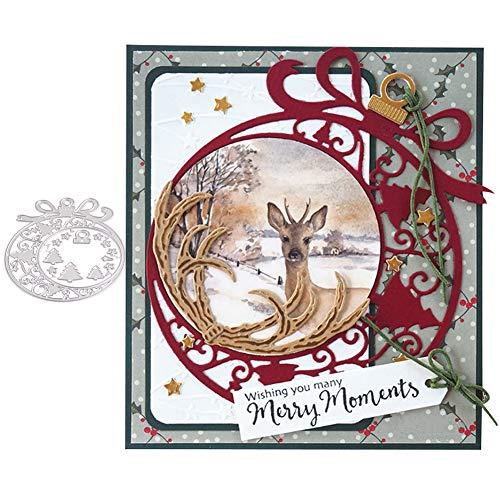Litty089 Fustella per tagliare albero di Natale, cornice a stella, fai da te Scrapbook, biglietti di carta, stencil, decorazione argento