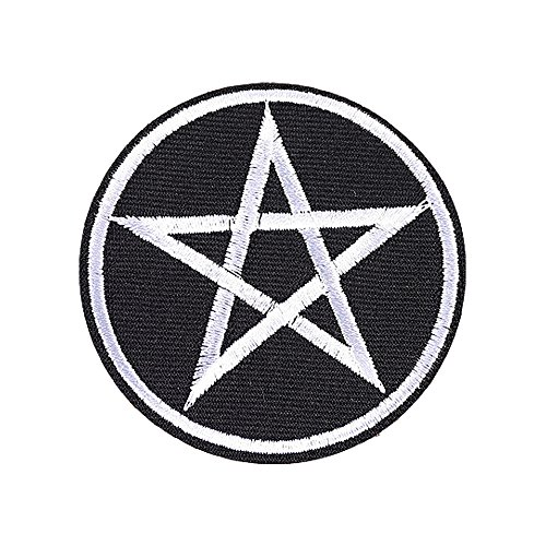 XUNHUI White Pentagram Star Embroidered Patch Iron-On Pentacle Wicca Symbol 5 Pieces