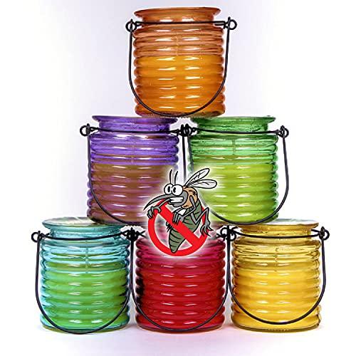 BMCC 4 velas de citronela en jarrón de cristal – Protección contra mosquitos (Citrona Glass)