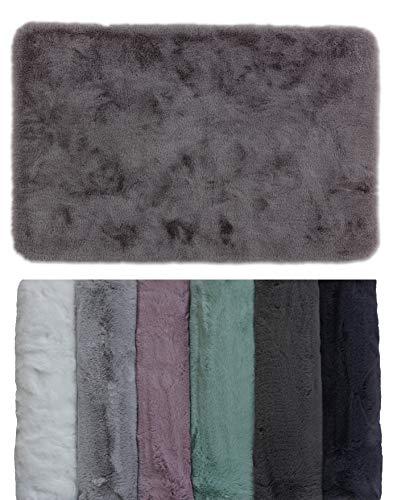 Schöner Wohnen Badezimmerteppich – sehr Flauschige Badematte – waschbar und rutschfest – Grau – 60 x 90 cm