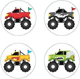Monster Trucks Edible Cupcake Toppers Decoration