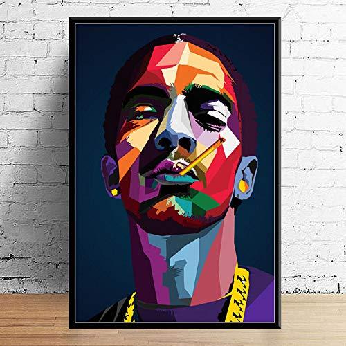 Juice Wrld J Cole Post Malone Mac Miller Travis Scoot Rapper Hip Hop Star Art Decor Calidad Lienzo Decoración para El Hogar Póster Decoración De Pared A3 50X70Cm sin Marcos
