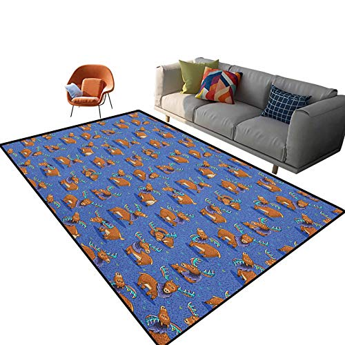 Moose Outdoor Carpets Patio Hand Drawn Style Funny Cartoon Characters Elks with Rainbow Antlers Friendly Mammals Carpets for Children Bedroom Nursery Rug 5'x 7'