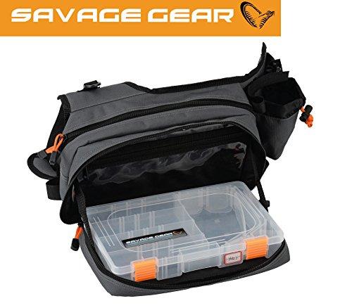 Savage Gear Sling Shoulder Bag (20x31x15cm) Angeltasche inkl. 1 Angelbox Zum Spinnfischen, Schultertasche, Spinntasche, Blinkertasche, Anglertasch, Tasche Zum Spinnangeln