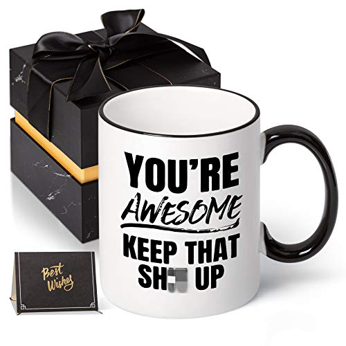 You are Awesome Coffee Mug Tea Cup Funny Festival Birthday Present for Men Women 11 Ounce with Gift...