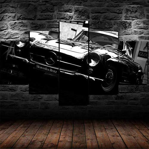 Cuadro Sobre Lienzo 5 Piezas Impresión En Lienzo Ancho: 150Cm, Altura: 100Cm Listo Para Colgar-Coche Clásico Mercedes-Ben W186 En Un Marco