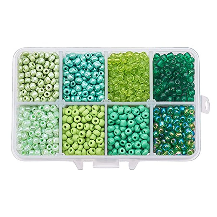 PandaHall Elite About 1900 Pcs 6/0 Multicolor Beading Glass Seed Beads 8 Colors Round Pony Bead Mini Spacer Czech Beads Diameter 4mm for Jewelry Making