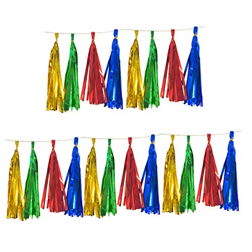 Tassel Garland 20PCS for Wedding Birthday Party Baby Shower Event Supplies Decorations, DIY PVC Tassels Banner Kits 36cm Long (Gold+Green+Red+Blue)