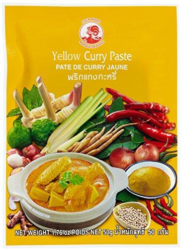 Cock Currypaste, gelb, milde Schärfe, authentisch thailändisch Kochen, natürliche Zutaten, vegan, halal & glutenfrei (1 x 50 g)
