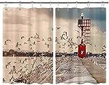 BOKEKANG Cortinas para Ventana de Cocina,Flying Seagull Rock Presa Malecón Baliza Moderna Paisaje costero Natural,Cortina Corta para Cocina Decoración de Ganchos para Baño,Pack 2,140x100cm