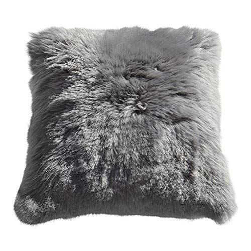 Lammfellkissen Merino Kurze Wolle GRAU 40 x 40 cm + Inlett Daunenkissen echtes Schaffell Zierkissen Dekokissen Sofakissen