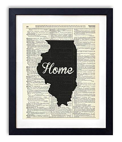 Illinois Home Script Upcycled Vintage Dictionary Art Print 8x10