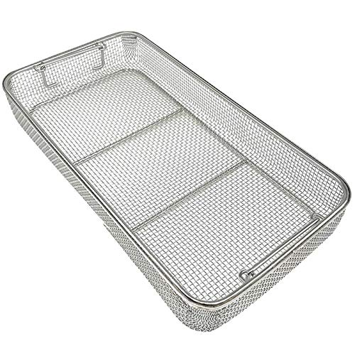 LYSAYJL Instrument Tray and Mesh Perforated Basket Sterilization Tray, Rectangular Stainless Steel Sterilization Basket Clean Basket (Size : 50257cm)