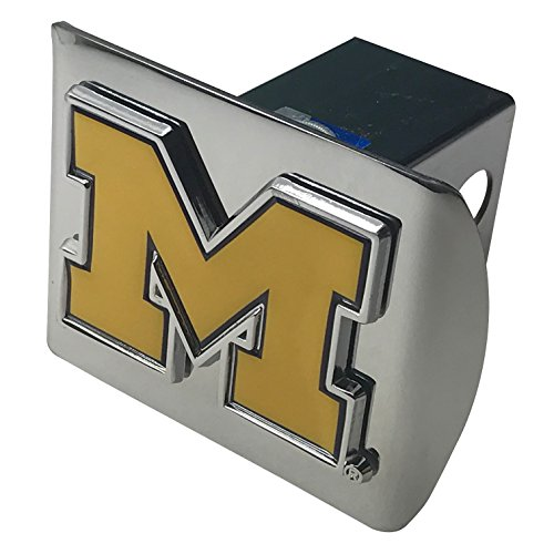 AMG University of Michigan Domed Yellow with Blue Trim Metal M on Shiny Chrome Metal Hitch Cover