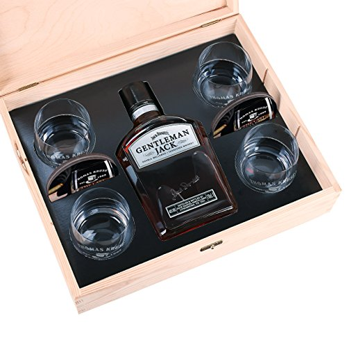 Privatglas 10-tlg Whiskey Set 4 Gläsern mit Gravur, 4 Untersetzer, Gentleman Jack + Holz-Schatulle