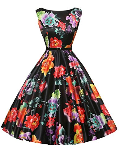 Floral Women's Vintage Wiggle Dresses Sleeveless Size 2XL F-14