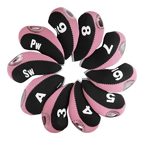 Andux Golf Schlägerkopfhüllen Eisenhauben mit digitalem Etikett 10 Stück