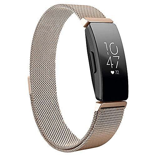Jennyfly Bandas de metal delgadas compatibles con Fitbit Inspire, para hombre, tamaño grande, ajustable, 17 a 20,6 cm, correa de acero inoxidable, compatible con Fitbit Inspire/Inspire HR – oro rosa