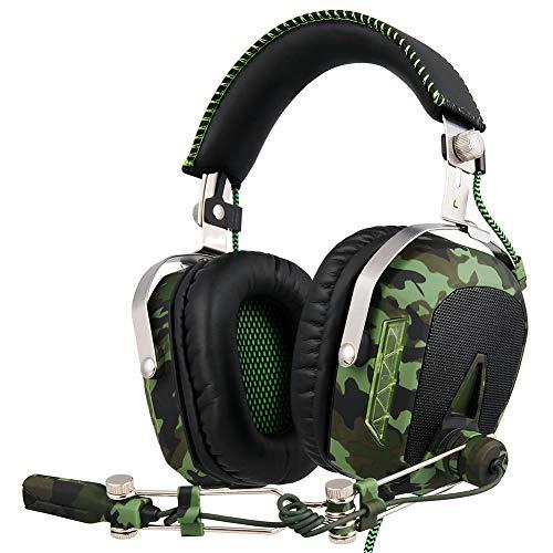 QWEDSA Casque de jeu monté sur la tête, 3,5 mm, haut-parleur pilote 50 mm, microphone de réduction du bruit, contrôle du volume flexible, camouflage vert militaire