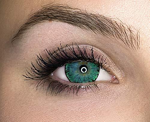 Kontaktlinsen farbig ohne Stärke farbige Jahreslinsen weiche Linsen soft Hydrogel 2 Stück Farblinsen + Linsenbehälter 0.0 Dioptrien natürliche Farben Serie Glitter Green (grün)