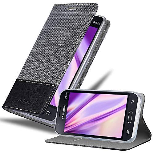 Cadorabo Hülle für Samsung Galaxy J1 Mini 2016 in GRAU SCHWARZ - Handyhülle mit Magnetverschluss, Standfunktion & Kartenfach - Hülle Cover Schutzhülle Etui Tasche Book Klapp Style