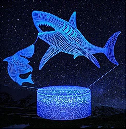 4D Night LightShark Lámpara de estado de ánimo con interruptor táctil de 16 colores de cambio – Regalo perfecto Festival de cumpleaños Navidad para bebés adolescentes amigos