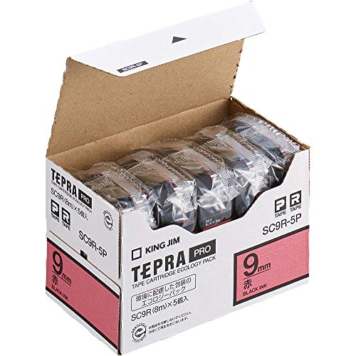 テプラ PRO用テープカートリッジ カラーラベル パステル 赤 エコパック 5個入り SC9R-5P [黒文字 9mm×8m]
