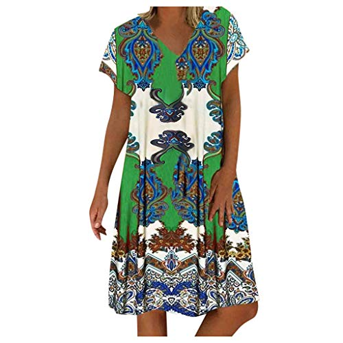 Strandkleider Damen Sommer Kleiderbügel Samt Jeanskleider Damen kleiderbügel Brautjungfernkleider Sexy Kleider Damen Abendkleider Kurz Begehbarer Kleiderschrank Kleiderbügel (Grün,XL)