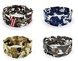 Apanphy® 4 Stücke Sport Yoga Headbands, Stretch Baumwolle Camouflage Stirnbänder, Männer und...