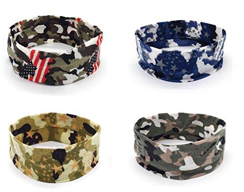 Apanphy® 4 Stücke Sport Yoga Headbands, Stretch Baumwolle Camouflage Stirnbänder, Männer und Frauen Lauf Stirnbänder Antitranspirant Haarband Camouflage