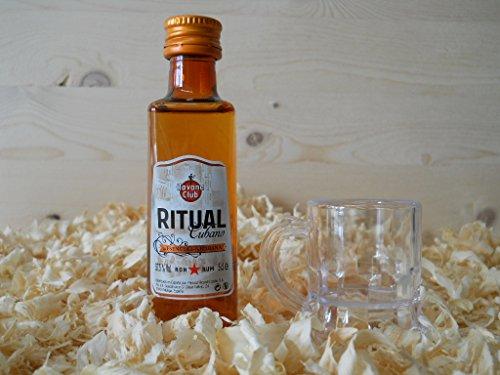 Botellin miniatura Ron Ritual con vasito chupito - Pack de 6 unidades