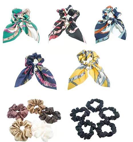 15 accesorios de peinado Flexible seda Bohemia Elástico bandas perlas falsas trenzas de cola de caballo Hermosa mujer (5PCS seda Mariposa + 5PCS Satén Elástico bandas + 5PCS Elástico bandas)