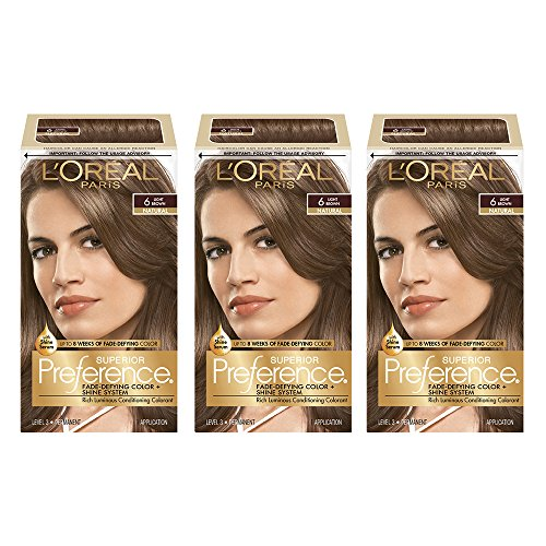 L'Oreal Paris Superior Preference Fade-Defying + Shine Permanent Hair Color, 6 Light Brown, 3...