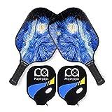 Papepipo Pickleball Paddle Set of 2, Premium Rackets Graphite Carbon Fiber Face