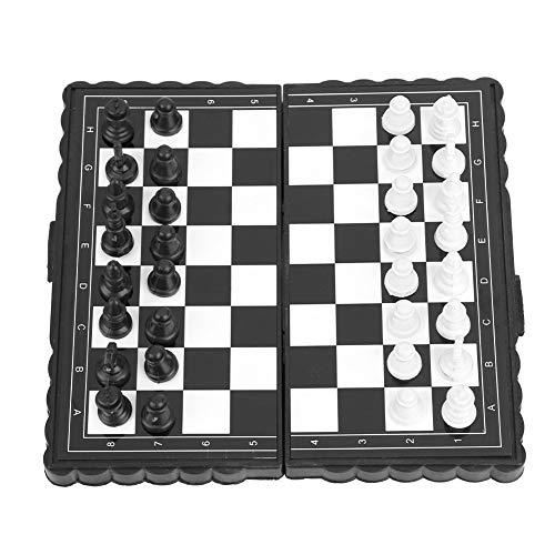 Unibell Ajedrez portátil magnética, Damas y Backgammon, Juego ajedrez de Rompecabezas de plástico Plegable del Tablero de ajedrez del Juego Ajedrez Juego for la Fiesta de Actividades for la Fa