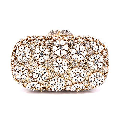 Mdsfe Clutch Tasche Kettentasche weibliche Hochzeit Diamant Kristall Blumenmünze Geldbörse Handytasche Brieftasche Handtasche Kristall Tasche - Farbe gleiches Bild, 16x16